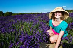 Young girl in a field of purple lavender Royalty Free Stock Photography