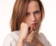 Young girl in fighting pose Stock Photo