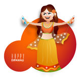 Young girl with firecracker for Diwali celebration. Beautiful young girl in traditional dress with firecracker for Indian Festival of Lights, Happy Diwali Stock Image