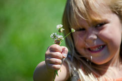 Young girl and a fist full of flowers Stock Images