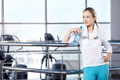 The young girl in fitness club royalty free stock photo