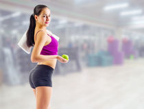 Young girl at fitness club Royalty Free Stock Photo