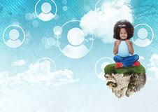 Young Girl on floating rock platform  in sky with people profiles interface. Digital composite of Young Girl on floating rock platform  in sky with people Royalty Free Stock Photo