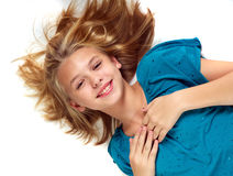 Young girl on floor Royalty Free Stock Photography