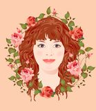 Young girl in the floral frame Stock Photography