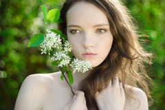 Young girl flower sensuality portrait outdoor Stock Photography