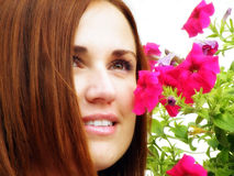 Young girl flower sensuality portrait outdoor Stock Photos