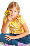 Young girl with flowers Stock Images