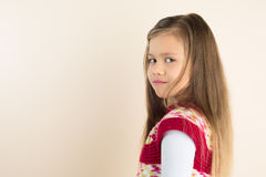 Young Girl with Flowing Hair, wearing Knitted Dress Stock Photography