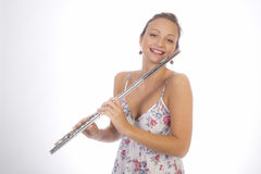 Young girl with flute Stock Image