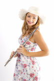 Young girl with flute Royalty Free Stock Photo