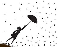 Young girl flying away with an umbrella, autumn wind, shadow vector illustration