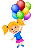 Young girl flying with balloon Royalty Free Stock Photos
