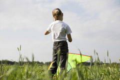 Young Girl Flying Kite In Field Stock Photo