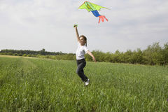 Young Girl Flying Kite In Field Stock Images
