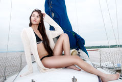 Young girl on a forage of the yacht Royalty Free Stock Photo