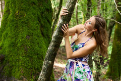 Young girl in the forest Royalty Free Stock Photo