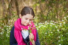 Young girl in a forest Stock Photo
