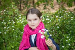 Young girl in a forest Royalty Free Stock Photos