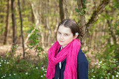 Young girl in a forest Royalty Free Stock Image