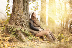 Young girl in the forest. Ranger Stock Photos
