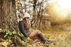 Young girl in the forest. Ranger Royalty Free Stock Photos