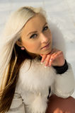 A young girl in the forest. In winter Royalty Free Stock Images