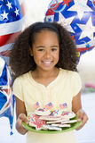Young girl on fourth of July. With balloons royalty free stock image