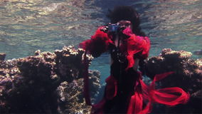 Young girl free diver in red dress photographs on camera underwater in Red Sea. Filming a movie. Extreme sport in marine landscape, coral reefs, ocean stock video footage