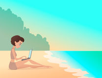 Young girl freelancer working outdoors on the beach with laptop. Freelance. Cartoon style Royalty Free Stock Photography