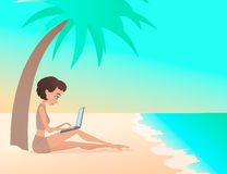 Young girl freelancer working outdoors on the beach with laptop. Freelance. Cartoon style Stock Photos