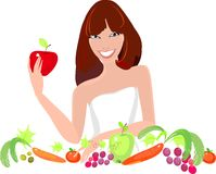 Young girl with fresh vegetables and fruits royalty free illustration