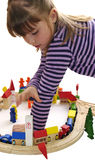Young girl fun with wooden blocks city Royalty Free Stock Photography