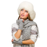 Young girl with fur hat Stock Image
