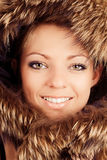 Young girl in fur hood Royalty Free Stock Photos