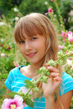Young girl in the garden of mallows. Portrait of beautiful young girl posing in the garden of mallows Stock Images