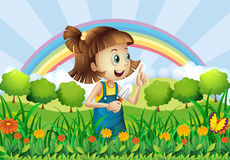 A young girl gardening. Illustration of a young girl gardening Stock Image