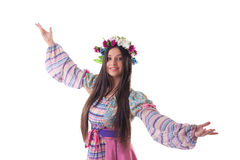 Young girl with garland dance in russian costume. Beauty young girl with garland in traditional russian costume Royalty Free Stock Image