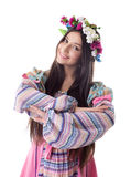 Young girl with garland dance in russian costume. Beauty young girl with garland in traditional russian costume Royalty Free Stock Images