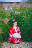Young girl in geisha costume Stock Photo