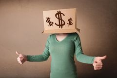 Young girl gesturing with a cardboard box on his head with dollar signs. Young girl standing and gesturing with a cardboard box on his head with dollar signs Royalty Free Stock Images