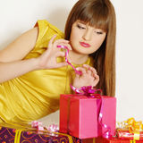 Young girl with gift Stock Photo