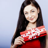 Young girl with gift Royalty Free Stock Image