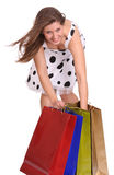 Young girl with gift bag. Royalty Free Stock Image