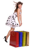 Young girl with gift bag. Royalty Free Stock Photography