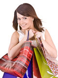 Young girl with gift bag. Royalty Free Stock Photo
