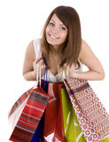 Young girl with gift bag. Stock Images