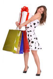 Young girl with gift bag and gift box. Royalty Free Stock Photography