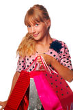 Young girl with gift bags Royalty Free Stock Photo