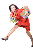 The young girl with a gift box Royalty Free Stock Photo